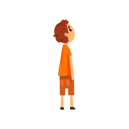 Boy looking forward to something, side view vector Illustration on a white background