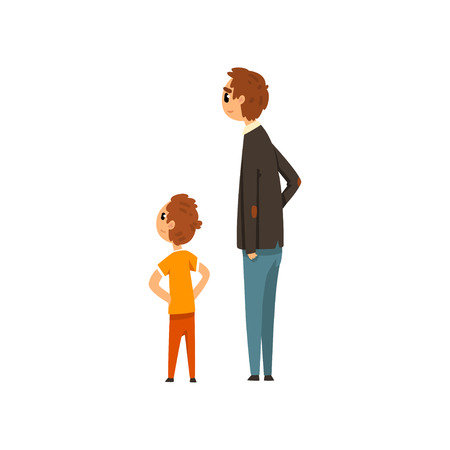 Dad and his son looking at something vector Illustration on a white background Иллюстрация