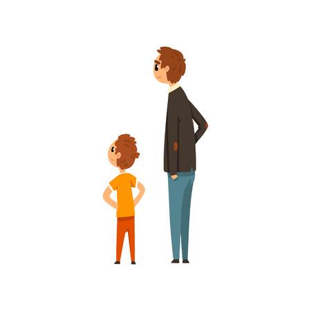 Papa und sein Sohn betrachten etwas Vektor-Illustration auf weißem Hintergrund Vektorgrafik