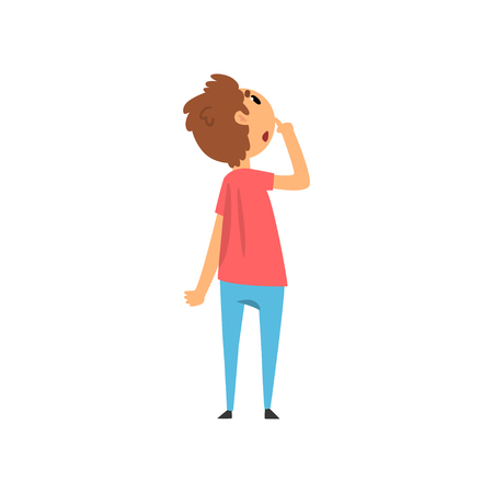 Boy looking up at something and thinking vector Illustration on a white background Иллюстрация