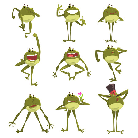 Emotional green funny frog, amfibian animal cartoon character in different poses vector Illustration isolated on a white background. Stock Illustratie