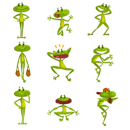 Conjunto de rana divertida, lindo personaje de dibujos animados de animales amfibian verde en varias poses con diferentes estados de ánimo vector ilustración aislada sobre fondo blanco