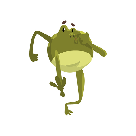 Green funny frog amfibian animal cartoon character vector Illustration isolated on a white background.