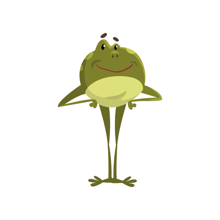Green frog amfibian animal cartoon character standing on two legs vector Illustration isolated on a white background. Ilustrace