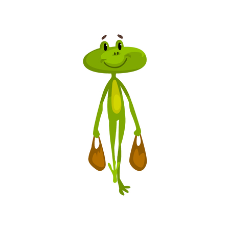 Little funny frog carrying two bags, green cute amfibian animal cartoon character vector Illustration isolated on a white background.