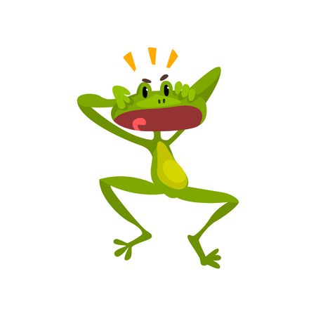 Little surprised frog, green funny amfibian animal cartoon character vector Illustration isolated on a white background.