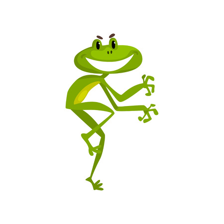 Little funny frog, cute green amfibian animal cartoon character vector Illustration isolated on a white background.