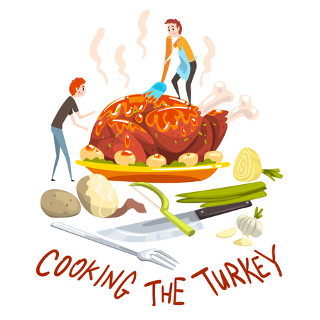 Cooking the turkey, two little men cooking huge festive turkey for Thanksgiving day or Christmas holiday, design element for banner, poster, greeting card vector Illustration, web design