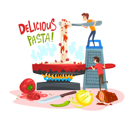 Delicious pasta, little people cooking traditional Italian pasta, design element for banner, poster, greeting card vector Illustration, web design 向量圖像