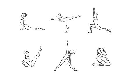 Yoga asanas linear icons set, women silhouettes, collection of yoga poses vector Illustration on a white background Illustration