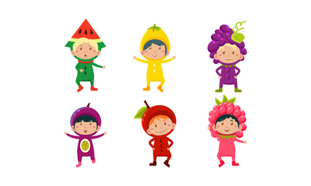 Kids in carnival clothes set, cute little boys and girls wearing fruits and berriess costumes vector Illustration