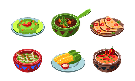 Collection of Mexican dishes, traditional national spicy meal vector Illustration isolated on a white background. Illusztráció