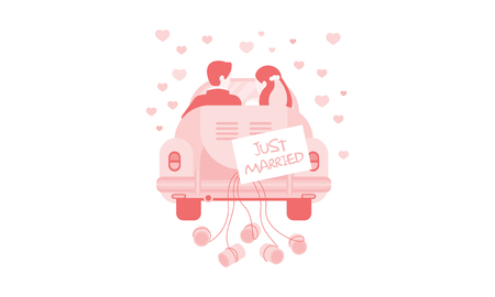 Just married bride and groom in car, wedding invitation, greeting card, banner, poster vector Illustration, web design