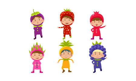 Kids in carnival costumes set, cute little boys and girls wearing fruits and berriess costumes, mangosteen, pomegranate, strawberry, dragon fruit, pineapple, blackberry vector Illustration