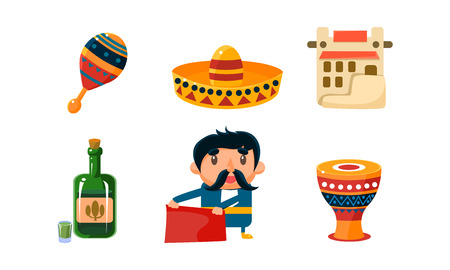 Mexico icons set, cute Mexican cartoon symbols vector Illustration isolated on a white background.