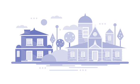 City building houses, horizontal banner or poster of small town or village, real estate vector Illustration