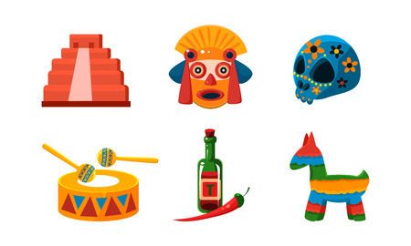 Mexico icons set, Mexican cultural symbols vector Illustration isolated on a white background.