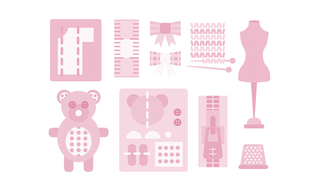 Sewing and needlework pink icons set, tailoring, dressmaking vector Illustration isolated on a white background.