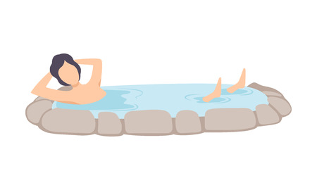 Man enjoying outdoor jacuzzi, guy relaxing in hot water in bath tub vector Illustration on a white background