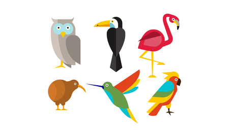 Birds set, owl, flamingo, parrot, hummingbird, toucan, kiwi vector Illustration isolated on a white background Иллюстрация
