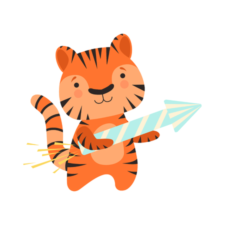 Tiger with a party popper, cute cartoon animal character, design template can be used for New Year or Christmas, Birthday card, banner, poster, holiday decoration vector Illustration isolated on a white background.
