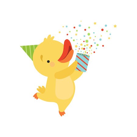 Cute duckling with a party popper, lovely cartoon animal character, design template can be used for New Year or Christmas, Birthday card, banner, poster, holiday decoration vector Illustration isolated on a white background.