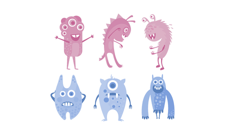 Colection of cute monsters, blue and purple funny alien character vector Illustration isolated on a white background. Illustration
