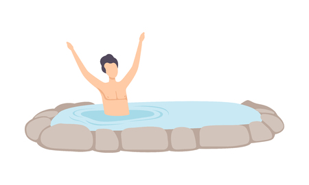 Man relaxing in outdoor jacuzzi, guy enjoying hot water in bath tub, spa procedure vector Illustration on a white background