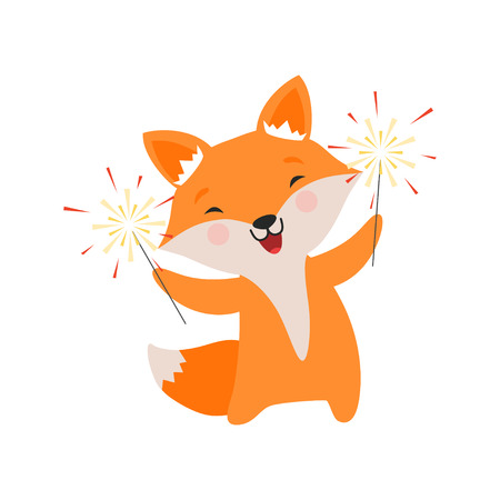 Cute fox celebrating with sparklers, lovely cartoon animal character, design template can be used for New Year or Christmas, Birthday card, banner, poster, holiday decoration vector Illustration isolated on a white background.