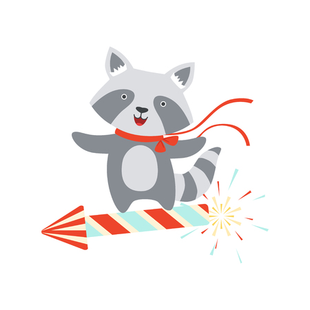 Raccoon flying on a party popper, cute cartoon animal character, design template can be used for New Year or Christmas, Birthday card, banner, poster, holiday decoration vector Illustration isolated on a white background.