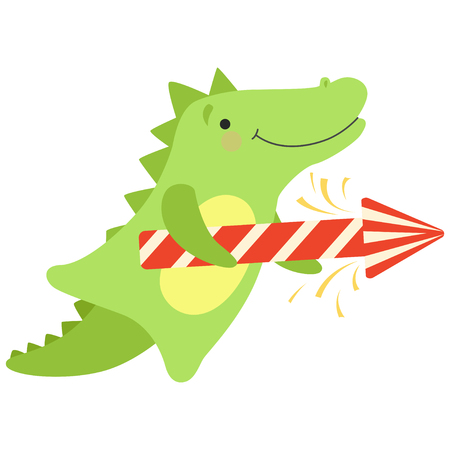 Crocodile with a party popper, cute cartoon animal character, design template can be used for New Year or Christmas, Birthday card, banner, poster, holiday decoration vector Illustration isolated on a white background.