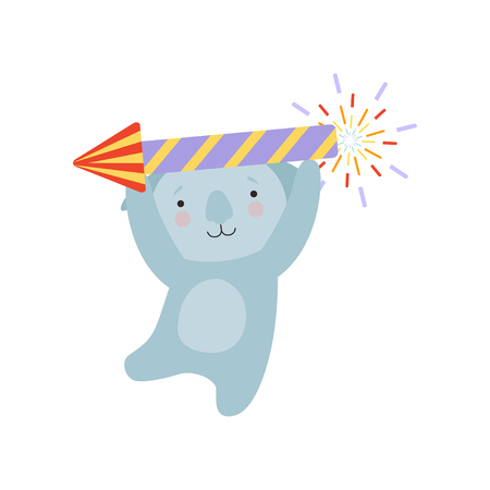 Coala bear with a party popper, cute cartoon animal character, design template can be used for New Year or Christmas, Birthday card, banner, poster, holiday decoration vector Illustration isolated on a white background.