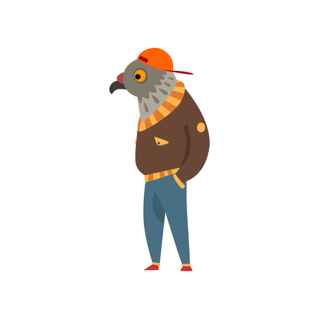 Man with eagle head, fashion bird character wearing trendy clothes vector Illustration isolated on a white background. Çizim
