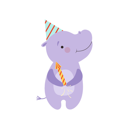Cute hippo with a party popper, lovely cartoon animal character, design template can be used for New Year or Christmas, Birthday card, banner, poster, holiday decoration vector Illustration isolated on a white background.