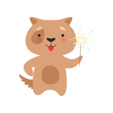 Cute dog with a party sparkler, lovely cartoon animal character, design template can be used for New Year or Christmas, Birthday card, banner, poster, holiday decoration vector Illustration isolated on a white background. Иллюстрация
