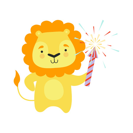 Cute lion with a party popper, lovely cartoon animal character, design template can be used for New Year or Christmas, Birthday card, banner, poster, holiday decoration vector Illustration isolated on a white background.