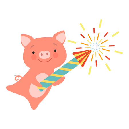 Cute piglet with a party popper, lovely cartoon animal character, design template can be used for New Year or Christmas, Birthday card, banner, poster, holiday decoration vector Illustration isolated on a white background.