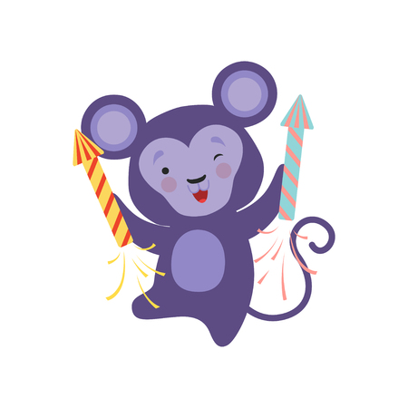 Cute monkey with a party popper, lovely cartoon animal character, design template can be used for New Year or Christmas, Birthday card, banner, poster, holiday decoration vector Illustration isolated on a white background. Illustration
