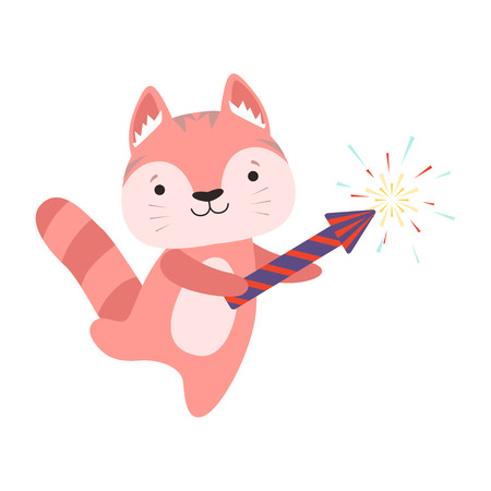 Cute red cat with a party popper, lovely cartoon animal character, design template can be used for New Year or Christmas, Birthday card, banner, poster, holiday decoration vector Illustration isolated on a white background.