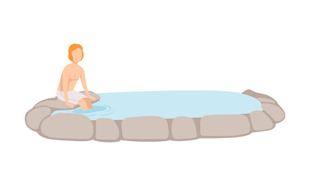 Man enjoying outdoor jacuzzi, guy relaxing in spa vector Illustration on a white background Фото со стока - 113613551