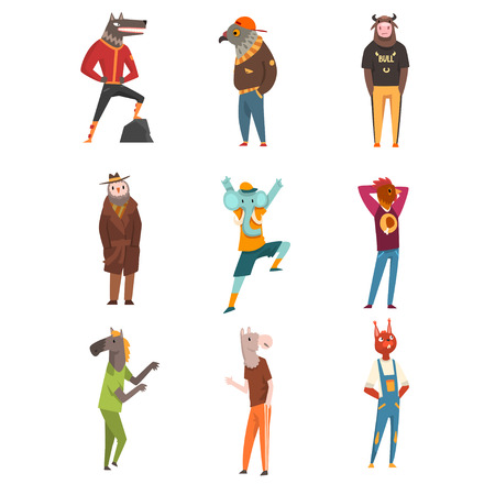 People with animal heads set, wolf, eagle, owl, fox, cock, elephant, horse, bull characters wearing trendy clothes vector Illustration isolated on a white background.