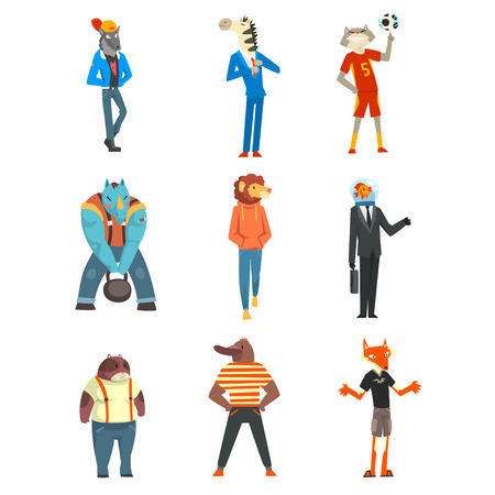 People with animal heads set, wolf, zebra, cat, beaver, rhinoceros, lion, fish, fox characters wearing trendy clothes vector Illustration isolated on a white background. Illustration