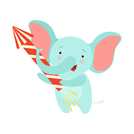 Cute elephant with a party popper, lovely cartoon animal character, design template can be used for New Year or Christmas, Birthday card, banner, poster, holiday decoration vector Illustration isolated on a white background. Illustration