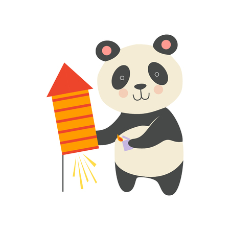 Cute panda bear with a party popper, lovely cartoon animal character, design template can be used for New Year or Christmas, Birthday card, banner, poster, holiday decoration vector Illustration isolated on a white background.