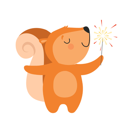 Cute squirrel with a party popper, lovely cartoon animal character, design template can be used for New Year or Christmas, Birthday card, banner, poster, holiday decoration vector Illustration isolated on a white background.