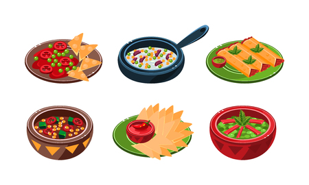 Collection of Mexican traditional food dishes vector Illustration isolated on a white background.