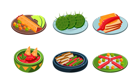 Collection of Mexican food, traditional spicy meal vector Illustration isolated on a white background.