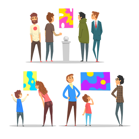People looking at abstract paintings hanging on the wall, visitors of modern art gallery vector Illustration Illustration