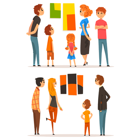 People looking at paintings hanging on the wall, visitors of modern art gallery vector Illustration