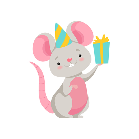 Cute mouse in party hat holding gift box, funny animal cartoon character vector Illustration isolated on a white background. Vectores